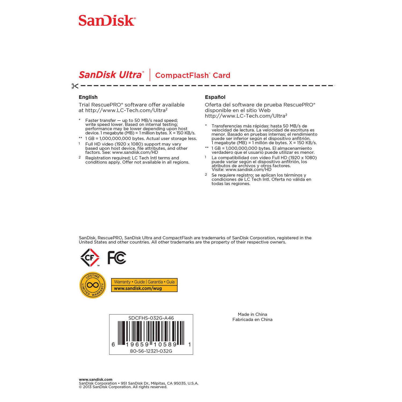 کارت حافظه CompactFlash سن ديسک مدل Ultra سرعت 333X 50MBps ظرفيت 32 گيگابايت
