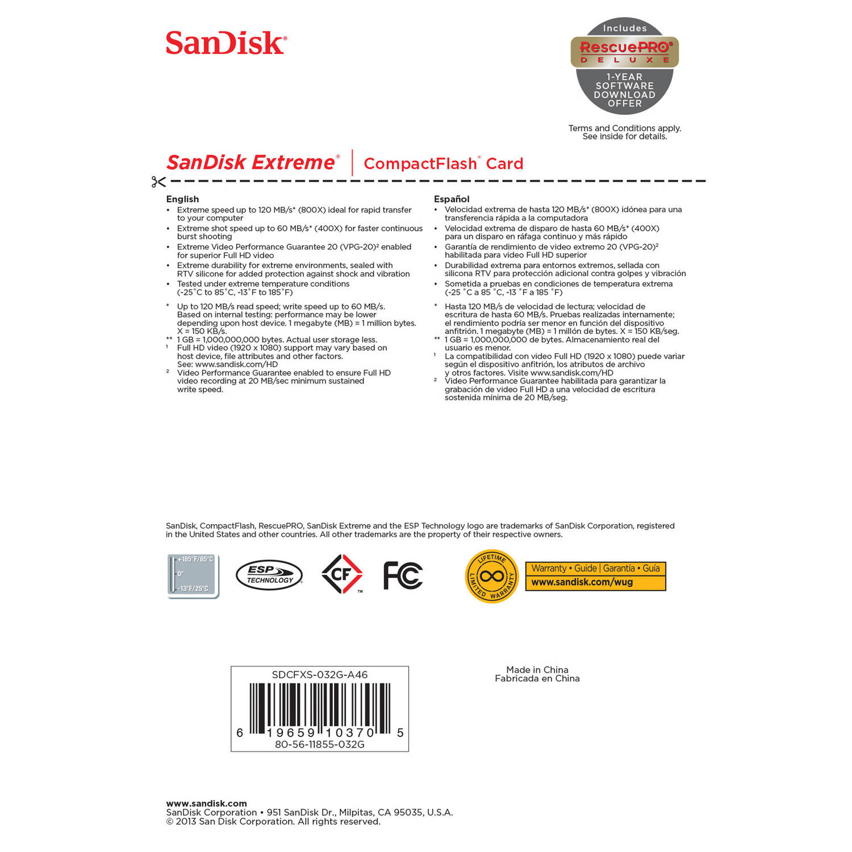 کارت حافظه CompactFlash سن ديسک مدل Extreme سرعت 800X 120MBps ظرفيت 32 گيگابايت
