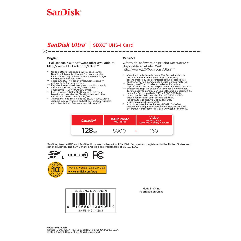 کارت حافظه SDXC سن ديسک مدل Ultra کلاس 10 استاندارد UHS-I U1 سرعت 533X  80MBps ظرفيت 128 گيگابايت